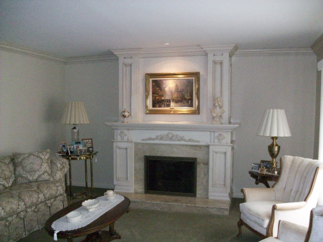 Raised Up Hearth Extention with Diana Realle Marble Hearth & Surround, Custom Wood Mantel and Overmantel in custom glazed finish..