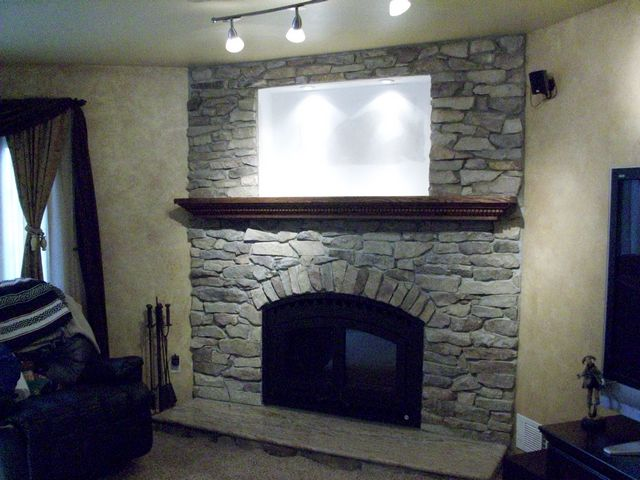 New Firebox w Wrought Iron Arch Face, Quarry Stone wall, Granite Hearth, Lighted Nook, Custom Oak Mantel