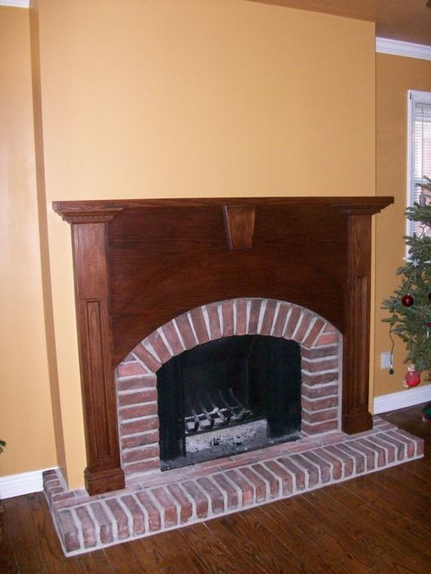 Wall Resurfaced, Custom Oak Mantel, Arch Brick Opening & Hearth, Hanging Screens,Inside  Firebox Refinished